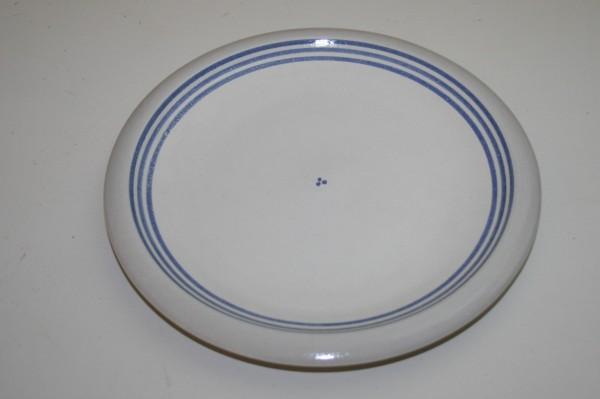 Flacher Teller, blau Streifen