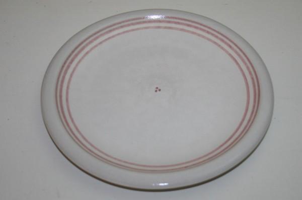 Flacher Teller, rot Streifen