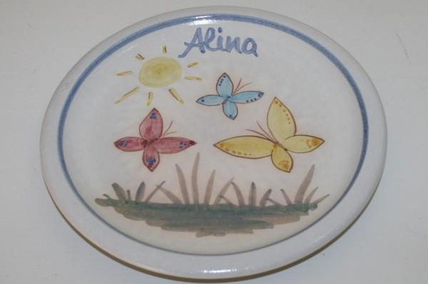 Kinderteller Schmetterling, mit Namen