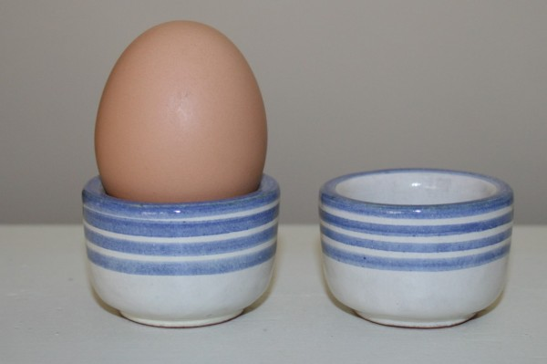 Eierbecher blau Streifen, 2er Set