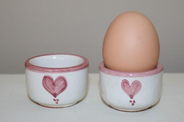 Eierbecher rot Herz, 2er Set