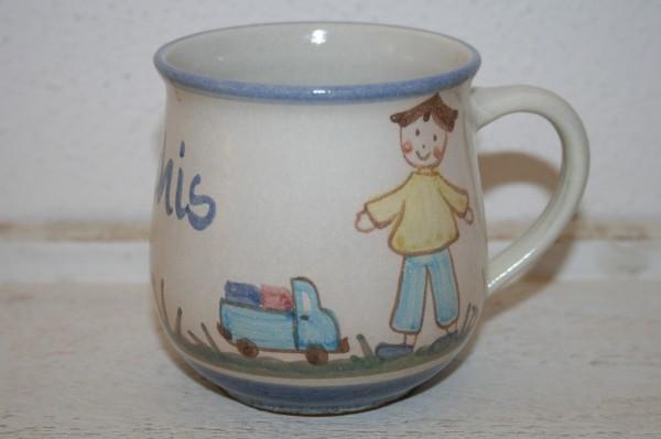 Kindertasse Junge mit Auto, mit Namen