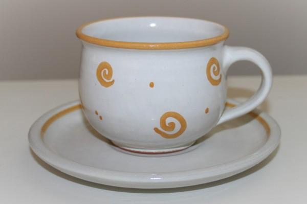Kaffeetasse mit Untertasse,gelb Spirale