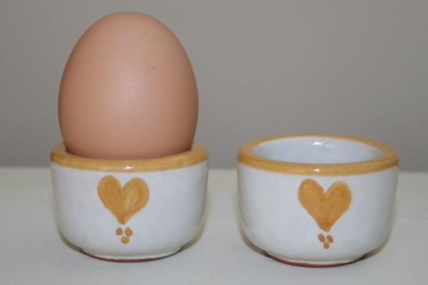 Eierbecher gelb Herz, 2er Set