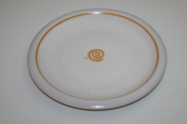 Flacher Teller, gelb Spirale