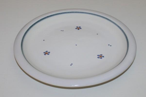 Flacher Teller, blau Blume