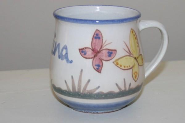 Kindertasse Schmetterling, mit Namen