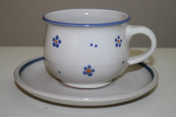 Kaffetasse mit Untertasse, blau Blume