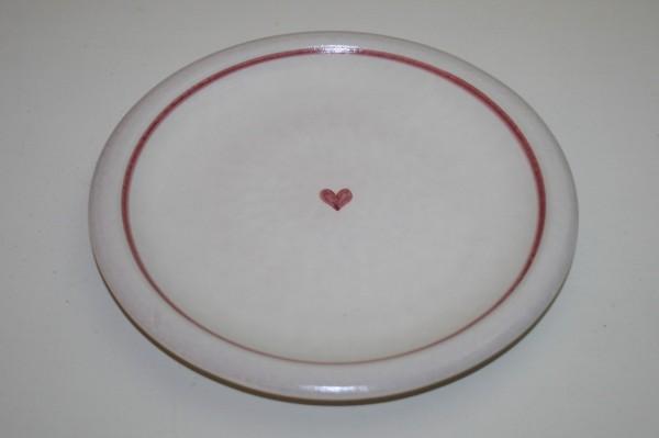 Flacher Teller, rot Herz