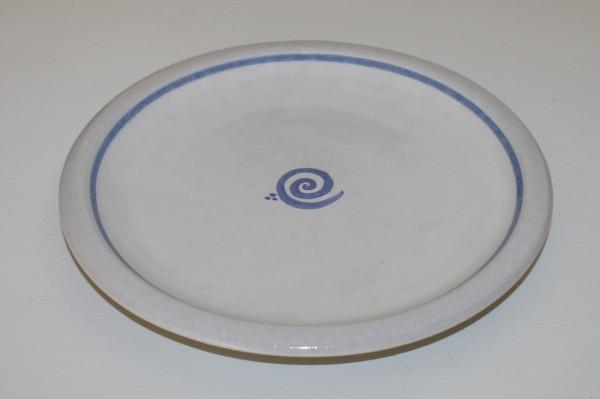 Flacher Teller, blau Spirale