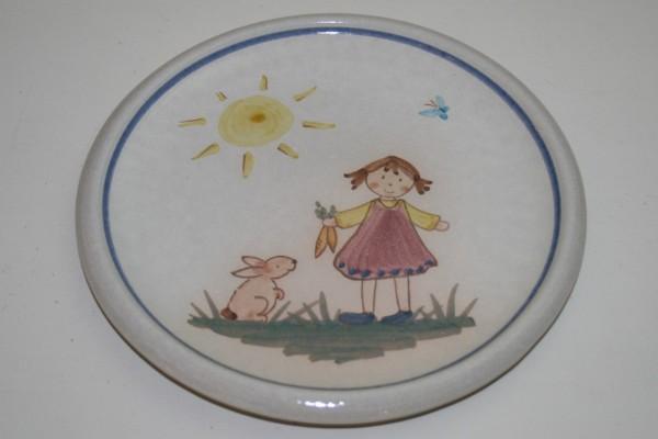 Kinderteller Mädchen mit Hase, mit Namen